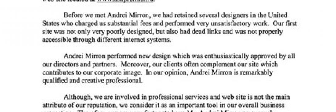We would like extend our thanks to Mr. Andrey Mirron…